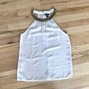 Zara Trafaluc Blouse White Top Gold Beaded Collar